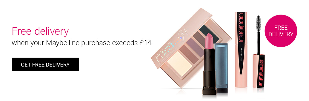 Free delivery when your Maybelline purchase exceeds £14!